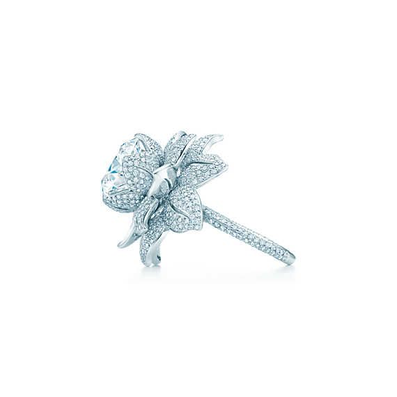The Gatsby Collection flower ring in platinum with a 5.25-carat diamond.