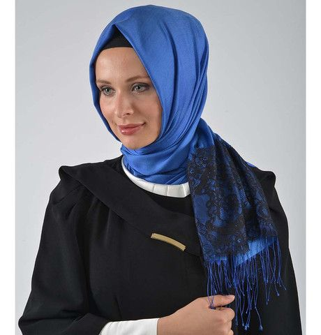 Neva Style Turkish Hijab Lace Fringed Shawl 11170 Blue | Modefa USA