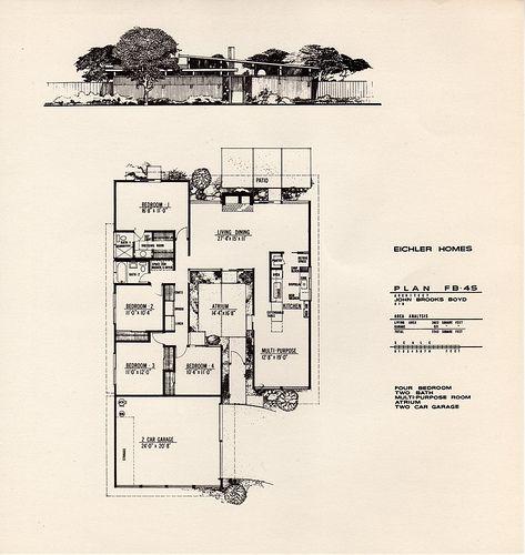 Eichler Homes of Foster City brochure: Leaflet 4 - Plan FB-4S by John Brooks Boyd