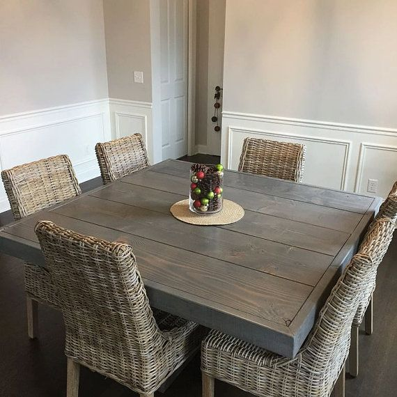 Farm House Table Pedestal Table Dine Table Square by Lumber2Love