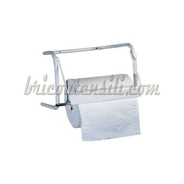 Portarotolo pensile in metallo verniciato bianco, per rotoli con diametro mm 310 e altezza mm 300 max. In acciaio vernicito.
