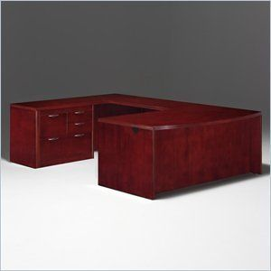 dmi summit left personal file bow front ushape wood desk in cherry assembled - Dmi Furniture