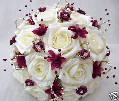 cranberry champagne and gold wedding bouquet | wedding-flowers-posy-bouquet-in-ivory-roses-with-burgundy-and-gold ...