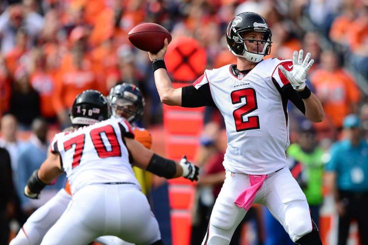Falcons vs. Broncos:   October 9, 2016  -  23-16, Falcons.    Quarterback Matt Ryan #2 of the Atlanta Falcons throws in the game against the Denver Broncos at Sports Authority Field at Mile High on October 9, 2016 in Denver, Colorado.