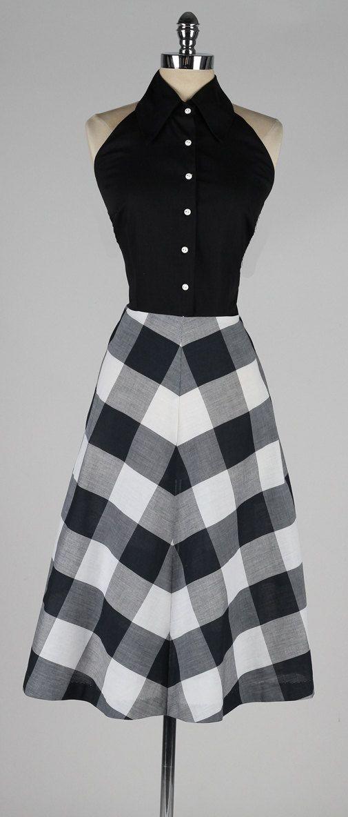 vintage 1950s dress . black plaid cotton halter by millstreetvintage