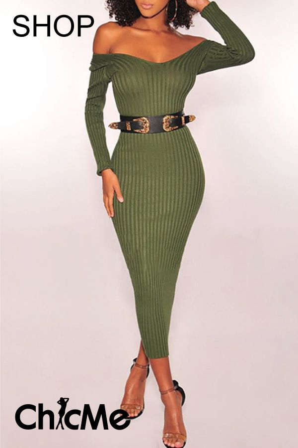 Women Off Shoulder Bodycon Dress Ladies Casual Long Pullover Jumper Dresses Tops