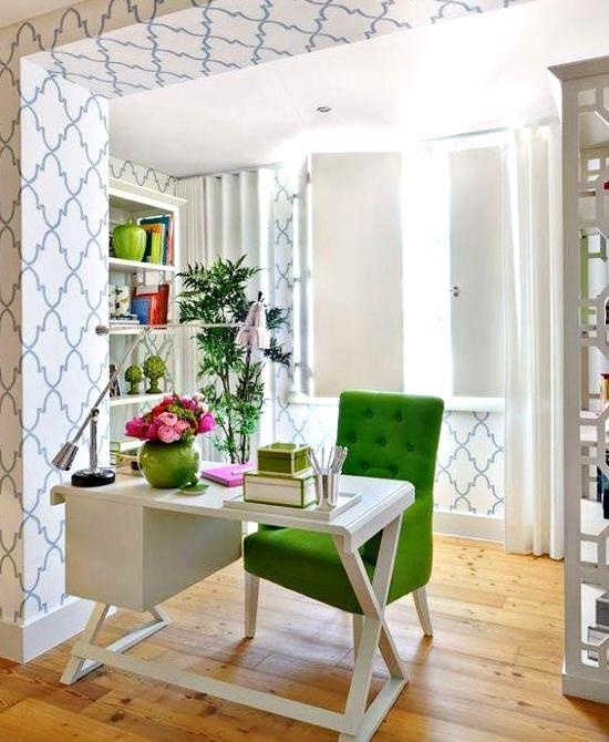 Beautiful Office With Green Chair Accent.