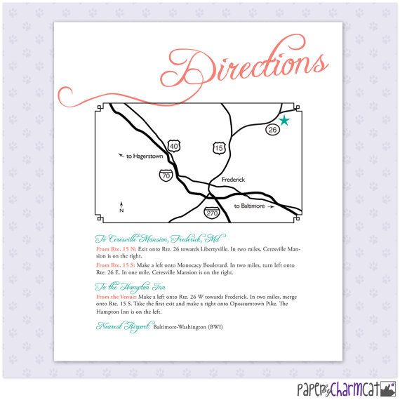 Printable Wedding Map Enclosure Card Directions By