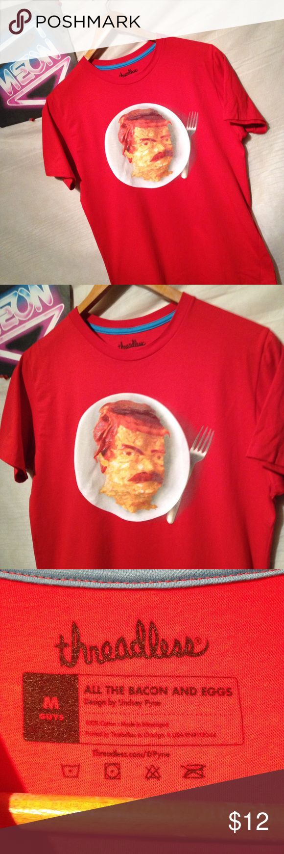 Thread less parks and rec eggs bacon shirt size M Used shirt with some signs of wear from use which could include discoloration from washing or small imperfections. Otherwise no holes, rips or tears shipping from smoke free environment, thank you. threadless Shirts Tees - Short Sleeve