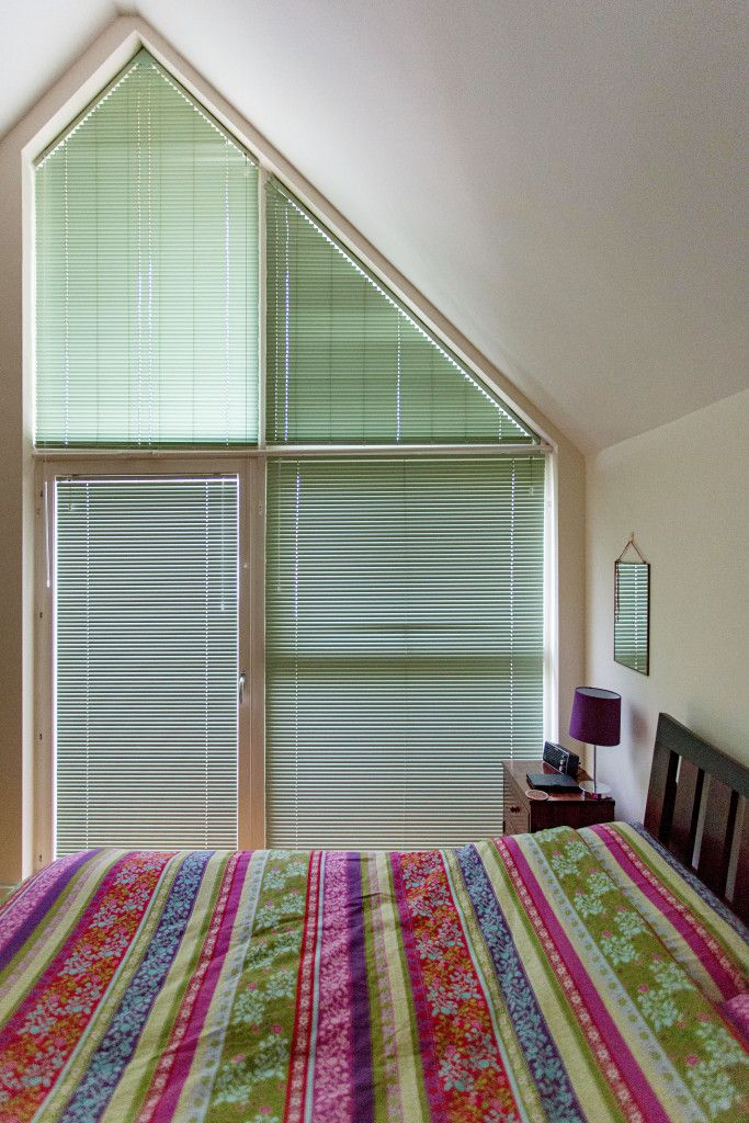 Triangular Aluminium Venetian Blinds in Green by Grand Design Blinds; Specialists in Shaped Blinds