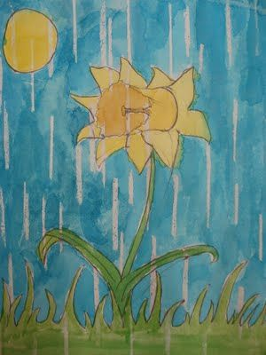 April Showers Art - draw a flower, use white wax crayon to make lines, then paint with watercolour.