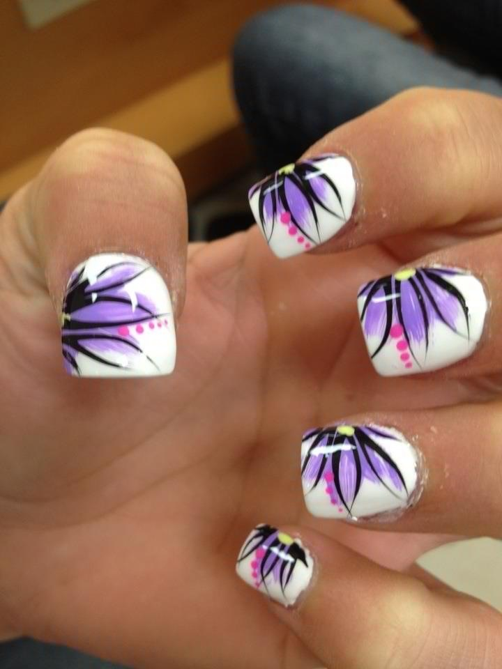 Purple Design Flower White Nails With Makeup Pinterest Nail Art And Designs
