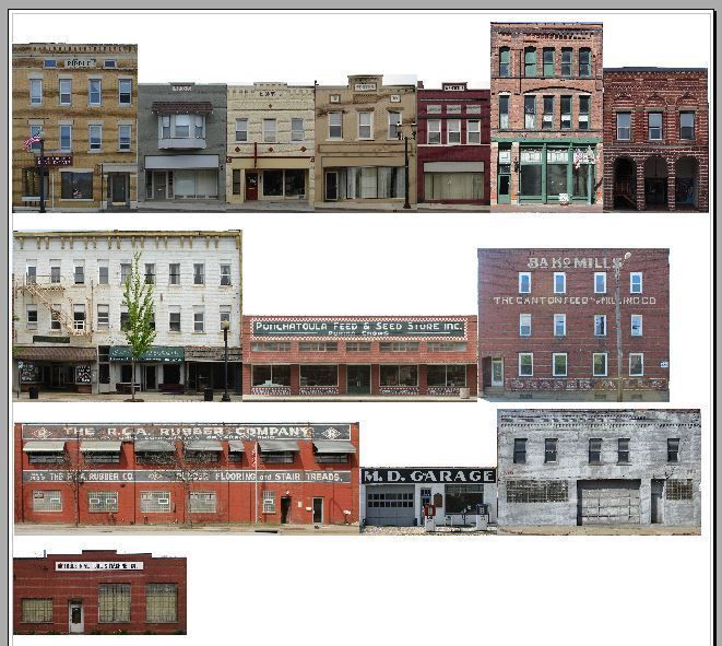 750 ho scale 14 background building set commercial fronts