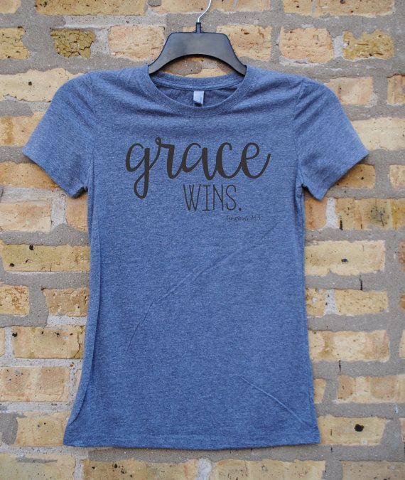 GRACE WINS Ephesians 2:8-9 Women's T-shirt, Gray with black ink, Christian T-shirt,
