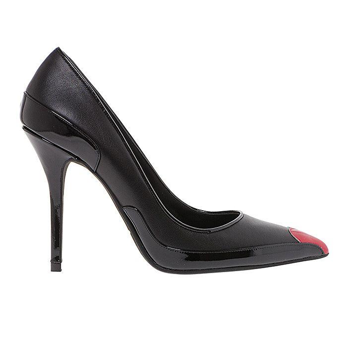 100446-BLACK LEATHER #mourtzi #heels #caramel #office #wow #pumps #heart www.mourtzi.com