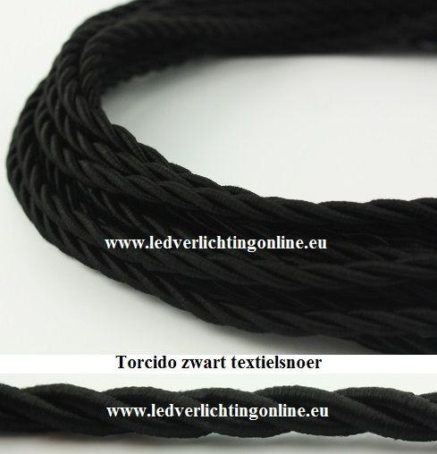 Torcido zwart textielsnoer Kabels en snoeren - ledverlichting & ledlampen online kopen