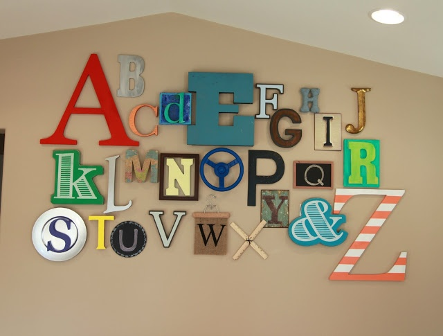 10 Fun Ideas For Playroom Walls - maybe do an alphabet wall in my classroom?