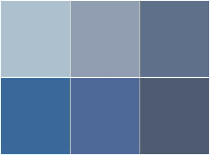 diferentes tonalidades de azul