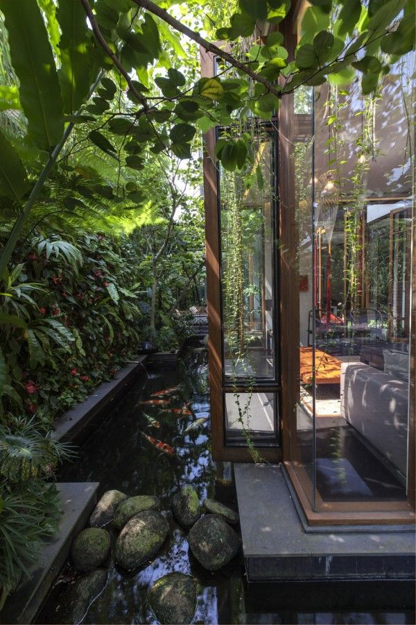 What i have always wanted. A living room with big glass windows surrounded by water & plants!!!!!