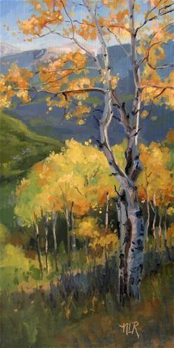 """Daily Paintworks - """"Autumn"""" by Nancy Romanovsky #tree #landscape #art"""
