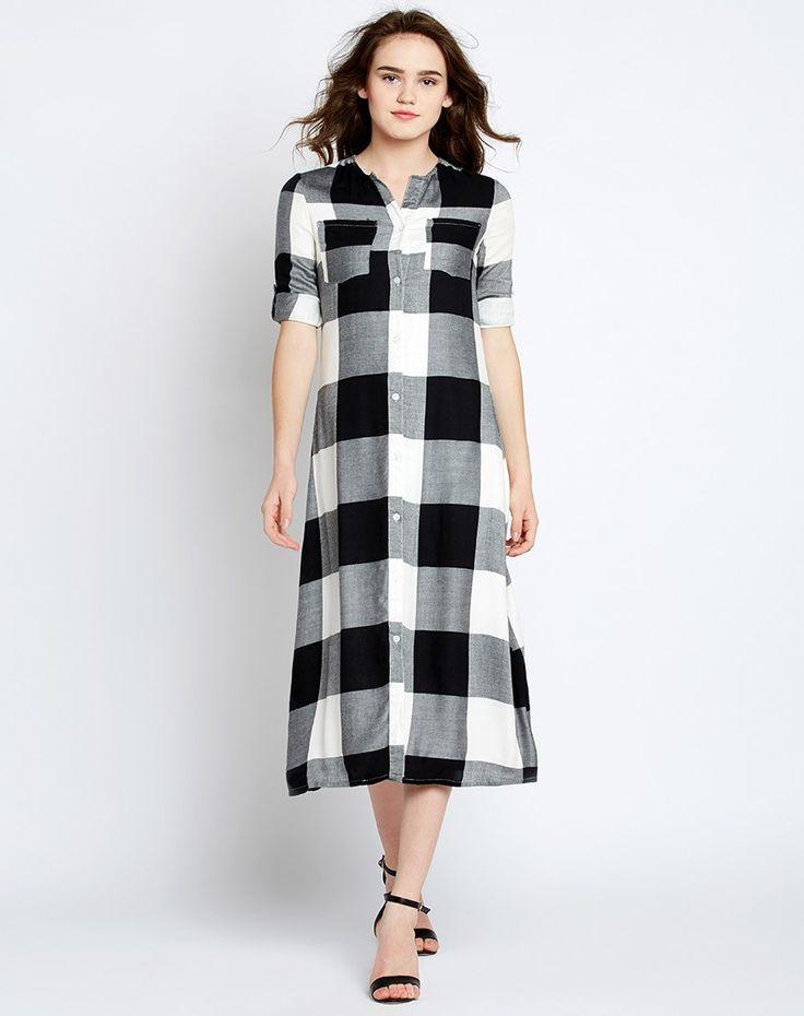 #Black #Checkered Jenna #Shirt #Dress #fashion #style #women