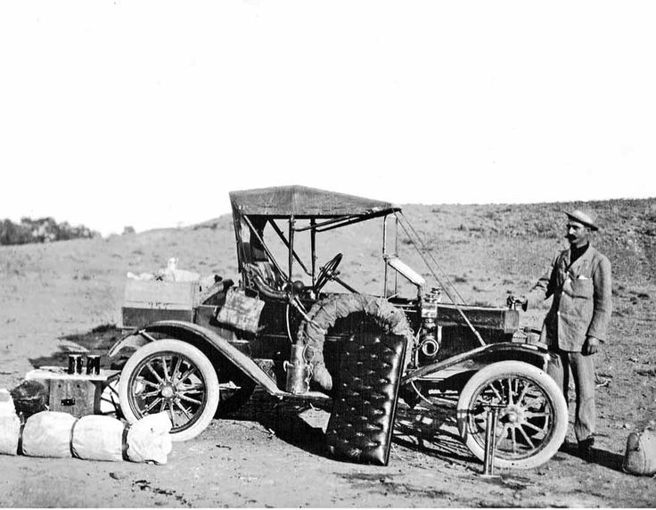 """1911 Torpedo Roadster  at Farina. It is believed to be of a travelling salesman to the Farina area.   These images are excellent for my Model 'T' Ford research because of their clarity. Plus, the """"Torpedo Roadster"""" is one of the rarest body types sold here in South Australia and this photo remains the only evidence that we have that at least one actually came to South Australia!"""