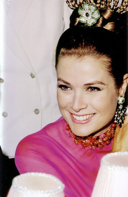 Princess Grace Kelly of Monaco wearing Christian Dior gown and Cartier jewels at a Charity Gala for the Monte Carlo Red Cross, August 1968.