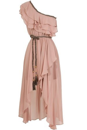 Enchanted Forest One Shoulder Chiffon Dress in Blush  www.lilyboutique.com