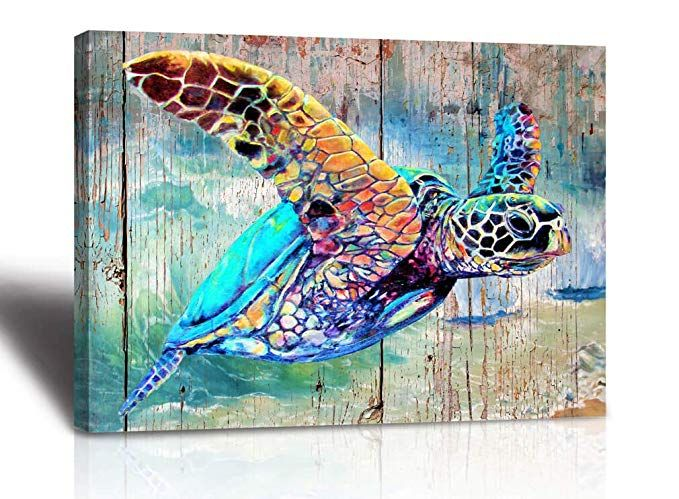 Sea Turtle Bathroom Wall Decor Canvas Prints Life Teal Watercolor Painting Beach Theme Artwork 1 Panels Framed For Bedroom Living Room Bedroom Home Office Decor With Images Turtle Wall Decor Turtle
