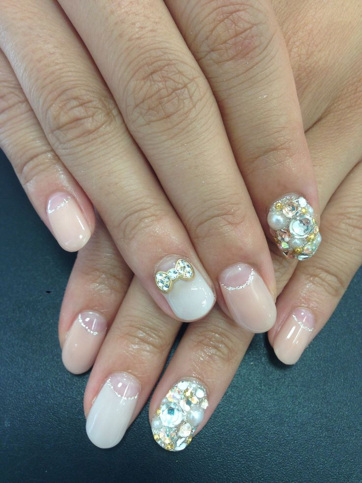 Bling, French nail, Swarovski, stone, rhinestone, pearls, nail art, - 114 Best Nude And Pale Pink Nail Designs Images On Pinterest Nail
