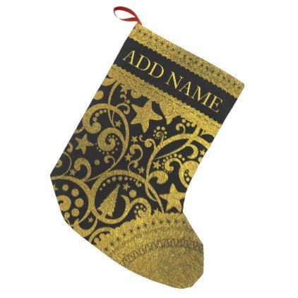 Luxury  Christmas Pattern with Gold Accents Small Christmas Stocking - gold gifts golden customize diy #luxurykids