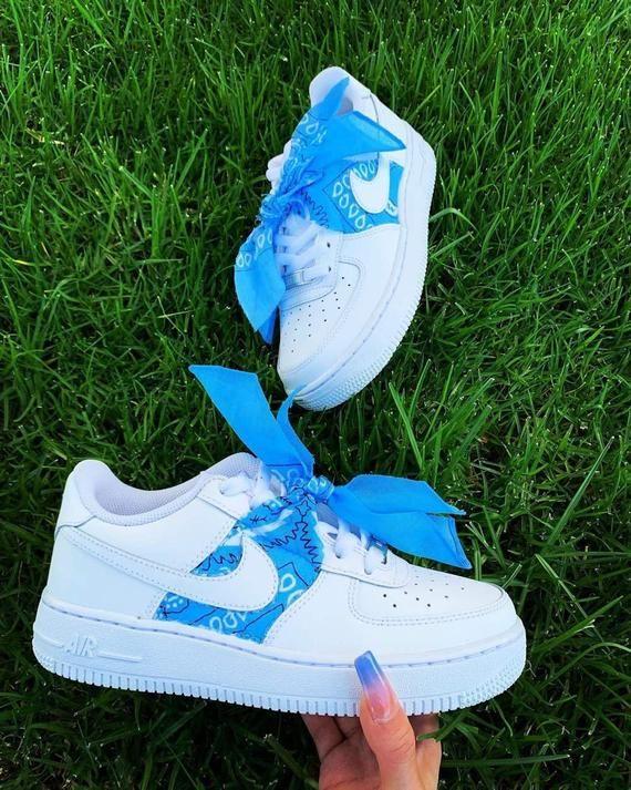 Custom Blue Bandana Air Force 1s | Custom Sneakers, Air