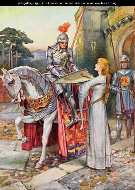sir lancelot gives his shield into elaines keeping