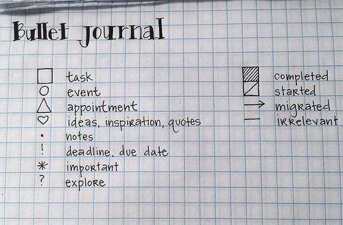 """""""bullet journal"""" bullet key"""
