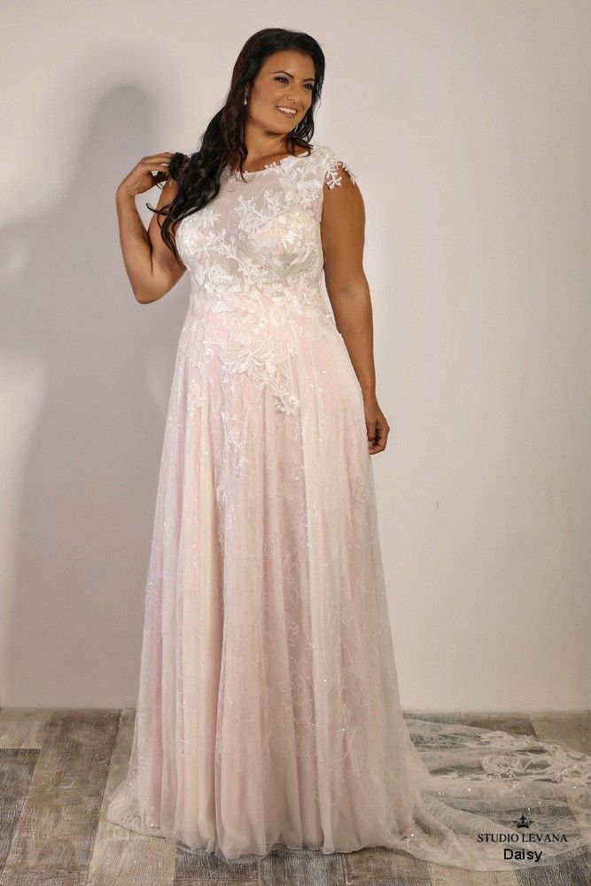 Plus Size Modest Blush Wedding Gown With A Sparkly Floral Lace Daisy Studio Levana Blush Wedding Gown Wedding Dresses New Wedding Dresses