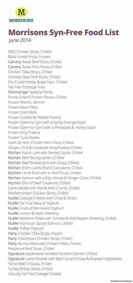 Morrisons Syn Free List Slimming World Faves Mainly