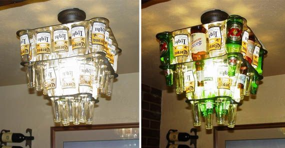 beer bottle chandeliers...what every guy needs for the man cave, right?