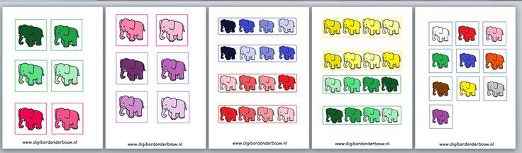 Werkbladen o.a. te gebruiken bij de digibordles over kleuren. http://digibordonderbouw.nl/index.php/themas/dieren/olifantendigibordlessen/werkbladenolifanten