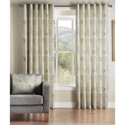 Montgomery Natural 'Oak' Lined Eyelet Curtains | Debenhams