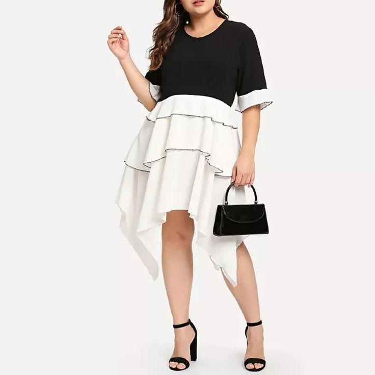 Plus Size Commuting Round Neck Splicing Irregular Dress 1