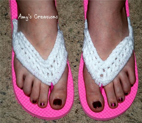 Crochet Flip Flop Cover          I made these Crochet Flip Flops with Some cute cheap flip flops and yarn! I bought the Flip Flops at Walma...