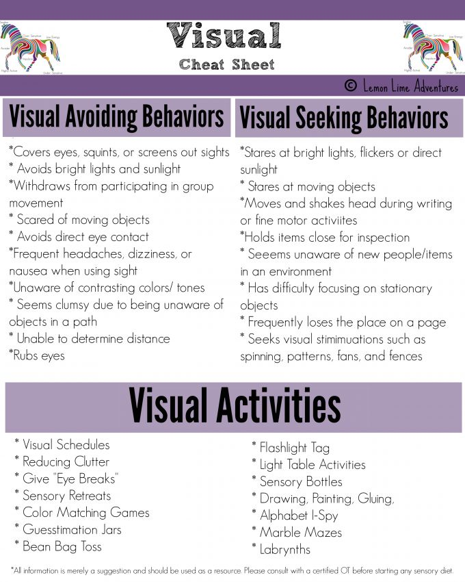 Visual Input Cheat Sheet: A list of behaviors you might see when someone is avoiding or seeking this type of input. | Lemon Lime Adventures