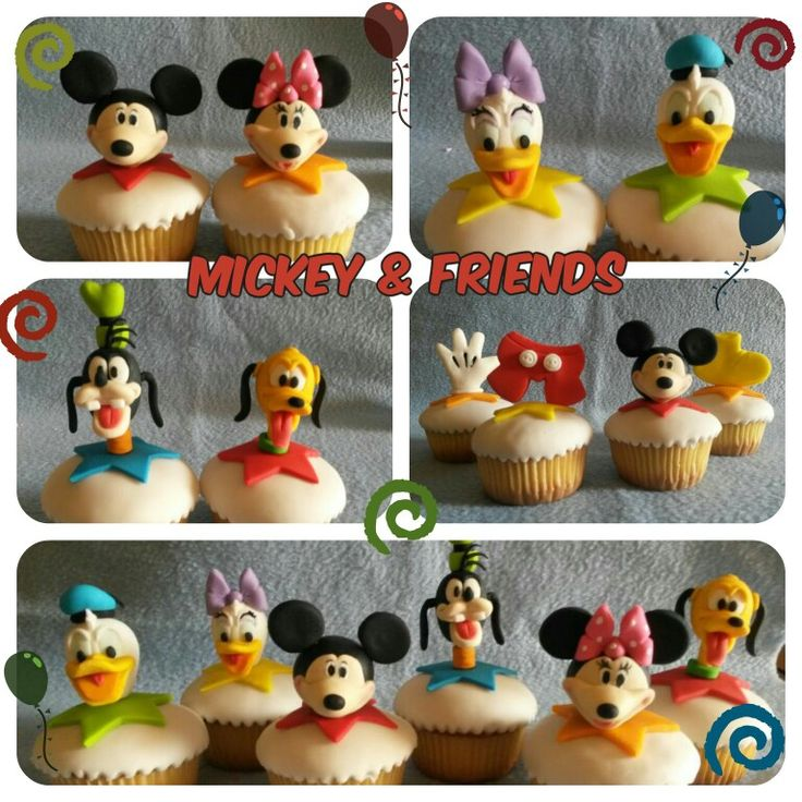 Mickey and friends themed cupcakes. Fondant figures are Handmade.