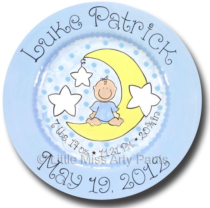 Birth Announcement Plates Baptism Plates - Little Miss Arty Pants