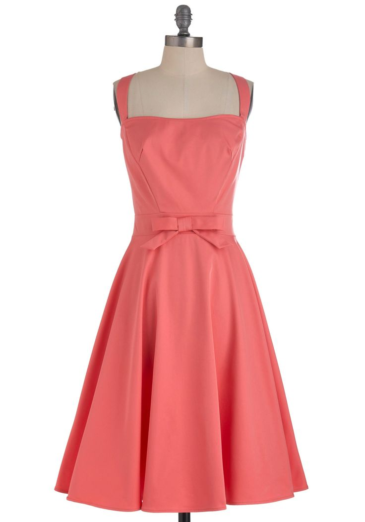 Little Bow Peep Dress by Bettie Page - Long, Pink, Solid, Bows, Buttons, Party, Vintage Inspired, Spring, Fit & Flare, 50s, Tank top (2 thick straps), Cocktail, Coral