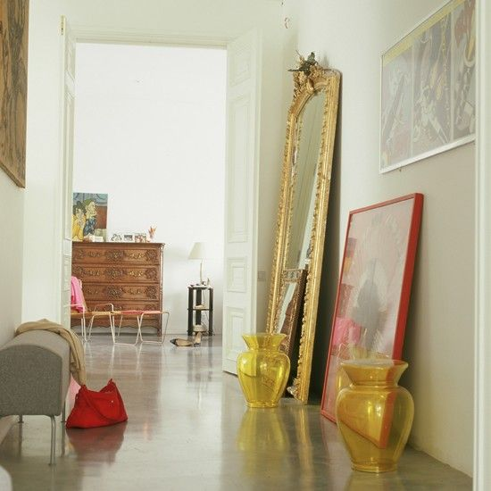 Sleek concrete hallway floor    Create a chic, minimalist look with a polished concrete floor in your hallway. Add to the artsy-warehouse vibe by leaning mirrors and artwork against walls and giving furniture the flick.