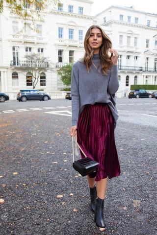 f9a6cbfe396090 burgundy velvet pleated midi skirt london street style outfit inspo