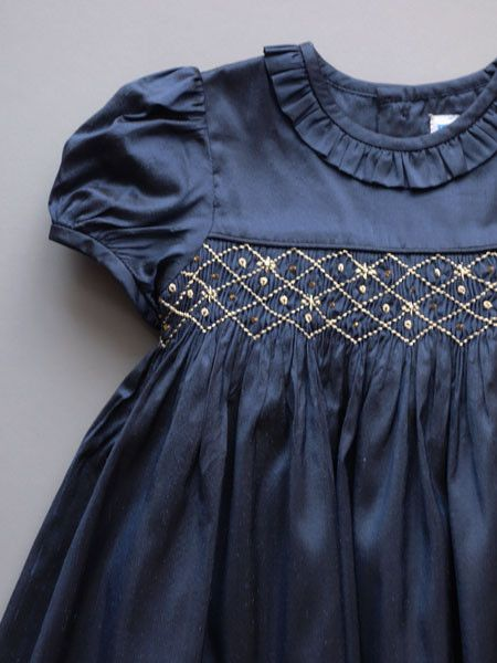 Luli & Me Navy Silk Smock Dress detail Baby & Toddler Girls