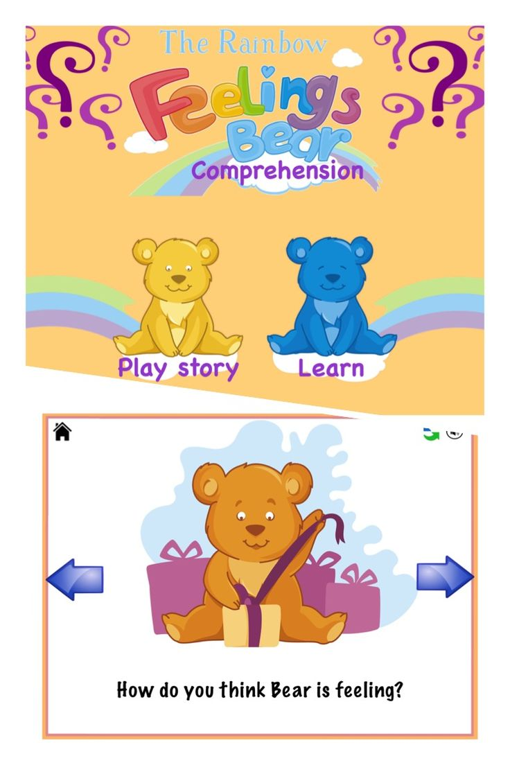 -Advanced Comprehension with the Rainbow Feelings Bear- Follow Bear's animated story and then have fun with the learning levels including;  Level 1. Describing a situation.  Level 2 Inferencing and Role play ('What could Bear say?'). Level 3 Predicting.  Level 4 Providing a solution to a problem. Level 5: Justifying ('How do you think Bear is feeling?'). Level 6: Justifying or Explaining ('Why is Bear is feeling X?').  Level 7 Explaining and Self awareness ('What makes you feel X?').