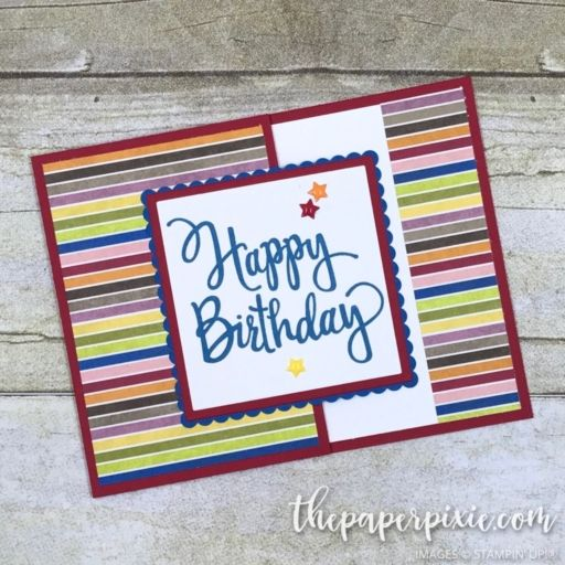 Today's project is a fancy fold gift card holder featuring Stampin' Up!'s Stylized Birthday stamp set and Birthday Memories Designer Series Paper! Here they are up close: My dear friend, Jackie Beers, inspired this project! See her version HERE. And, while you're visiting her blog, be sure to check out her other amazing creations! This…